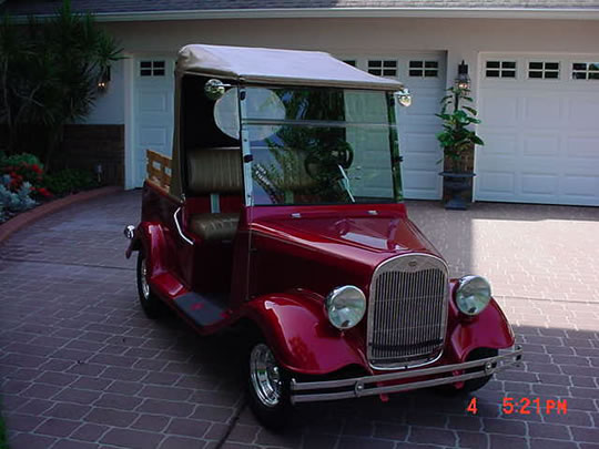 1929 Ford Golf Cart Not a kit ! 23 MPH, Convt, 4 seater, Red/tan CD Ford Golf Cart Kit on custom club cart, ford electric scooter, ford gold cart, ford fan, ford motorcycle, ford power unit, ford door opener, ford dune buggy, ford utv,